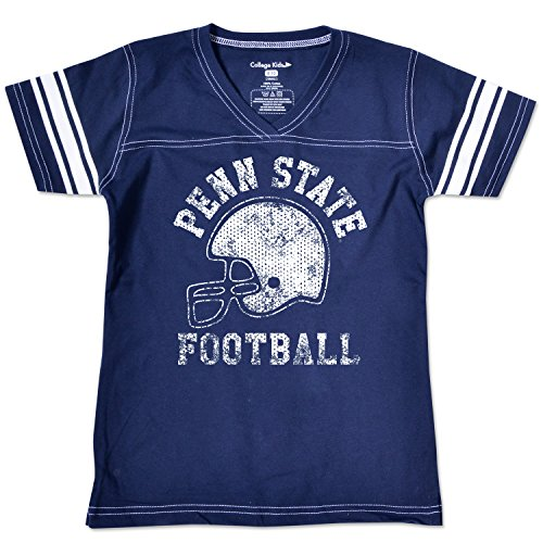 College Kids NCAA Penn State Nittany Lions Girls V Neck Short Sleeve Football Tee, Size 8-10 /Small, Navy
