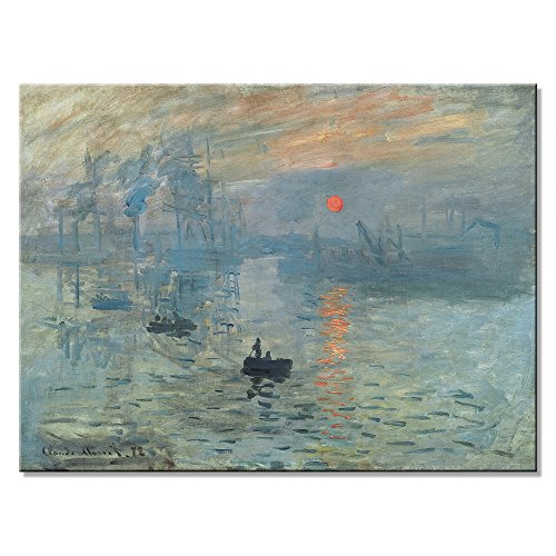 Wieco Art Impression Sunrise Modern Stretched and Framed Giclee Canvas Prints of Claude Monet Famous Oil Paintings Reproduction Seascape Artwork Pictures on Canvas Wall Art for Home Decorations L (Art Canvas Deco Print)