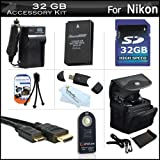 32GB Accessories Kit For Nikon 1 J1, Nikon 1 J2, Nikon 1 AW1 Mirrorles Digital Camera Includes 32GB High Speed SD Memory Card + Extended (1200Mah) Replacement EN-EL20 Battery + Ac/DC Charger + Mini HDMI Cable + Wireless Remote Control + Case + More