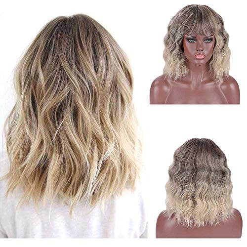 DIFEI Ultra Flirty Balayage Hairstyle Wigs Short Shoulder Length Curly Haircuts with Bangs Natural Looking for Girls (Short Haircuts For Girls With Curly Hair)