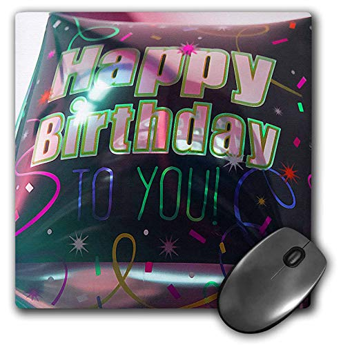 3dRose Jos Fauxtographee- Birthday - A Big Square Balloon That says Happy Birthday to You in Black - Mousepad (mp_320075_1) (Images Of Balloons That Say Happy Birthday)