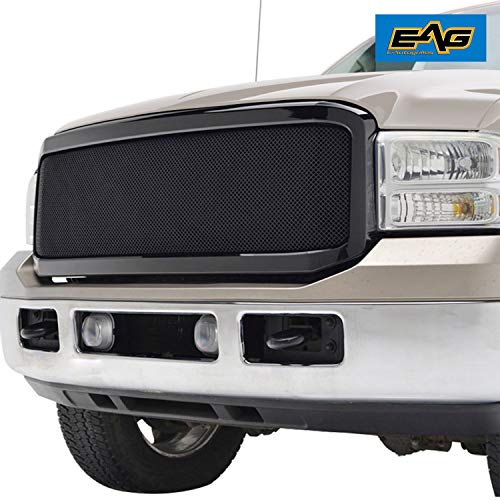Abs Mesh Grille - EAG Replacement Grille Black Stainless Steel Wire Mesh with ABS Shell for 05-07 Ford F250/F350