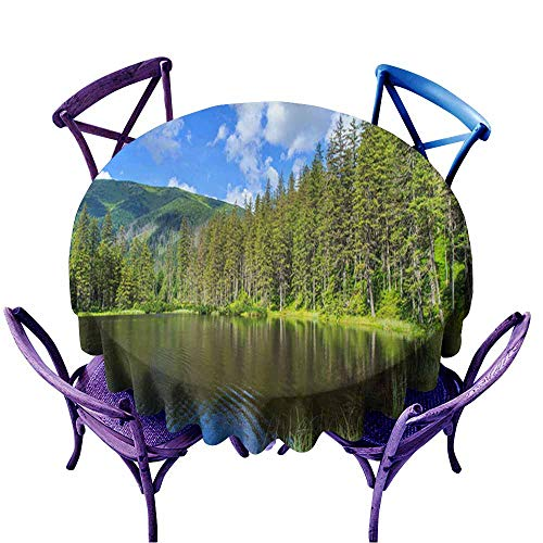 Acelik Round Tablecloth,Mountain Lake in National Park High Tatra Poland Europe,Table Cover for Home Restaurant,47 -