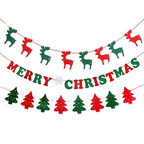 MAIYU Merry Christmas Bunting Banner Flag Christmas Party Decoration (Merry Chritmas Letters+Tree+Elk)