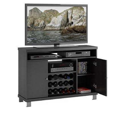 Sonax THC-407-W Holland 48-Inch Wide TV/Component Bench with Wine Storage, Ravenwood Black
