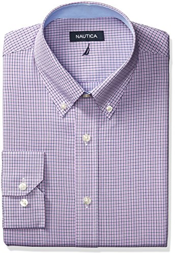 Nautica Mens Microgingham Buttondown Collar Dress Shirt