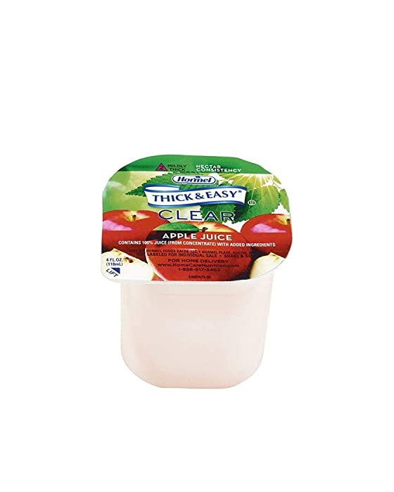 Thick & Easy Thickened Apple Juice, Clear thickener for Natural Apple Juice Appearance, Nectar Consistency, Pack of 24, 4 oz. Each