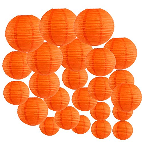 Just Artifacts Decorative Round Chinese Paper Lanterns 24pcs Assorted Sizes (Color: Red -
