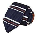 Slim Navy Brown White Knitting Tie Border Stripe Business Necktie for Men or Boy