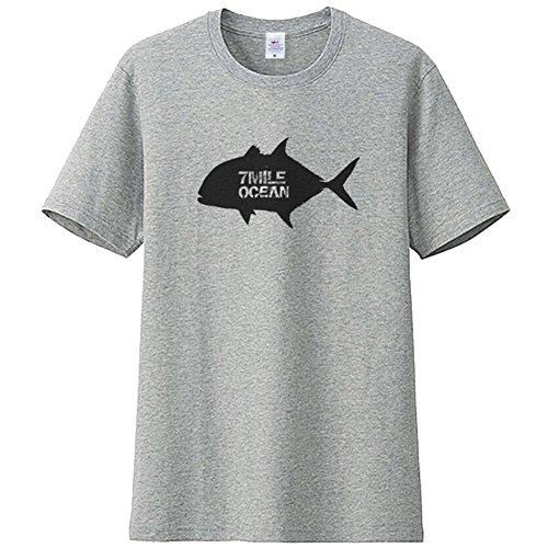 正確さ気をつけて雇った7MILE OCEAN メンズ 半袖 Tシャツ プリント ヘビーウェイト ロゴ GT ロウニンアジ 釣り ルアー フィッシング 魚 白 黒 グレー ネイビー S M L XL XXL 大きいサイズ 夏物 svm0200