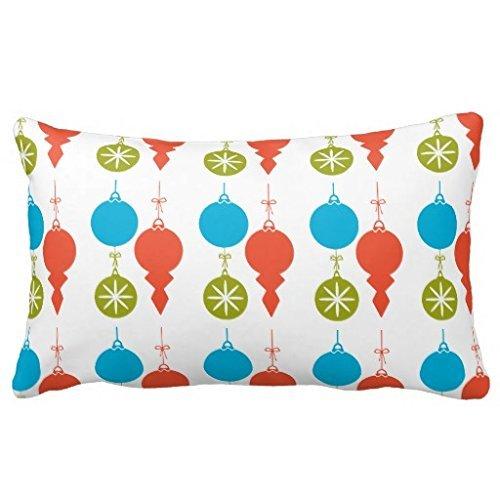 Himoud Fun Retro Mid Century Christmas Ornaments Christmas Lumbar Pillow Covers 20 x12 inches