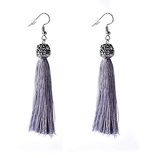 "635f629c2204f0 Asingeloo Women's Long Tassel Dangle Earrings Fringe Drop Earrings Elegant  Bohemian Handmade Rhinestone Ball 5.5"""