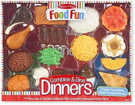 "Melissa & Doug Combine & Dine Dinners, Pretend Play, Durable, Realistic Food Pieces, Dishwasher-Safe, 17-Piece Set, 11.5"" H x 15.25"" W x 2.75"" L"