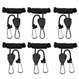 "MAXSISUN 3-Pair 1/8"" Adjustable Heavy Duty Rope Clip Hanger, Grow Light Ratchet Hanger, 150lbs Weight Capacity"