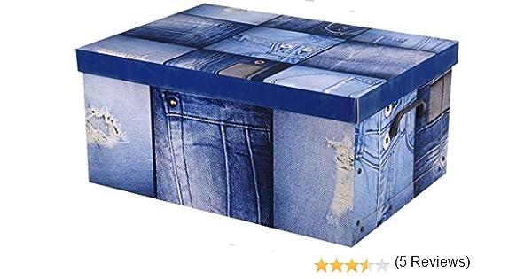 Cajas de almacenamiento de cartón con tapa, Denim, 18 Litres: Amazon.es: Hogar