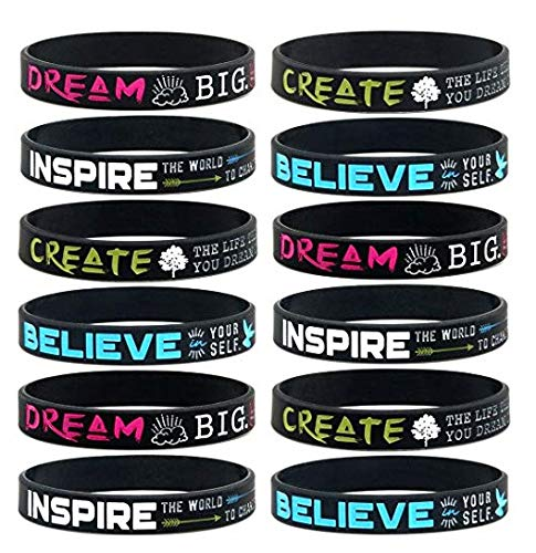Inspirational Wristbands, Party Favors for Teens, Sweet 16, Dance, Gymnastics and Cheerleading Gifts for Girls | Motivational Quote Message Bracelet for Women, Silicone (12 Pack) by Everest Essentials