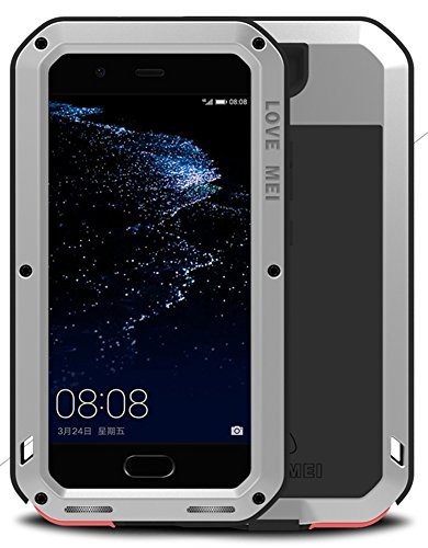 921 Glasses (Case for HUAWEI P10 (5.1 inch), LOVE MEI Brand Waterproof Shockproof Dustproof Powerfull Aluminum Metal with Built-in Tempered Glass Screen Protector [Two-Years Warranty] Silver)