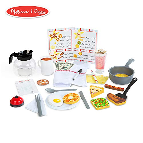 - Melissa & Doug Star Diner Restaurant Play Set (Toy Diner Set, 41 Pieces)