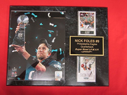 NICK FOLES Eagles Super Bowl LII MVP 2 Card Collector Plaque #1 w/8x10 Photo w/Trophy