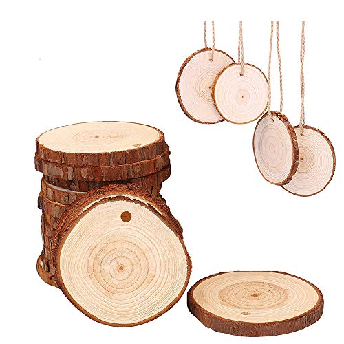 Natural Wood Slices with Hole 15pcs 2.75-3.14 inch for Crafts Centerpieces Predrilled with Tree Bark Unfinished Wooden Circles Suit Christmas Ornaments DIY Crafts