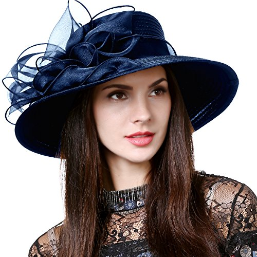 HISSHE Lightweight Kentucky Derby Church Dress Wedding Hat #S052, S062-navy, Medium ()