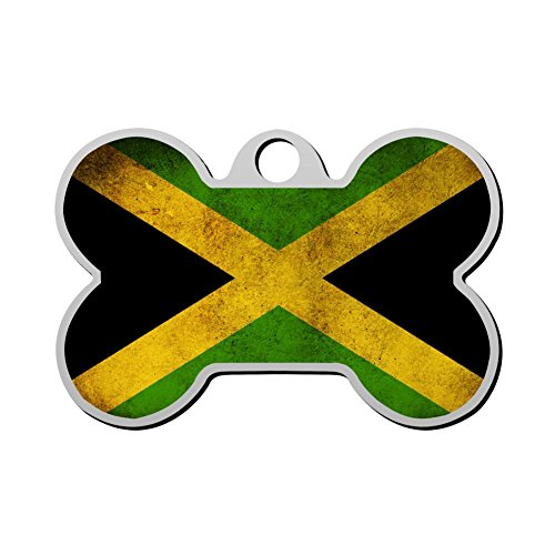 FENGzhong Pet ID Dog Tag Jamaican Pride Jamaican Flag Personalized Custom Pet Tag with Pets Name & Contact Number - Double-sided Full-page Print
