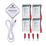 Holy Stone 4 in 1 Battery Charger and Rechargeable Li-Po Batteries 4Pcs 3.7V 650mAh for RC Quadcopter Drone HS110, HS200, HS120, HS130