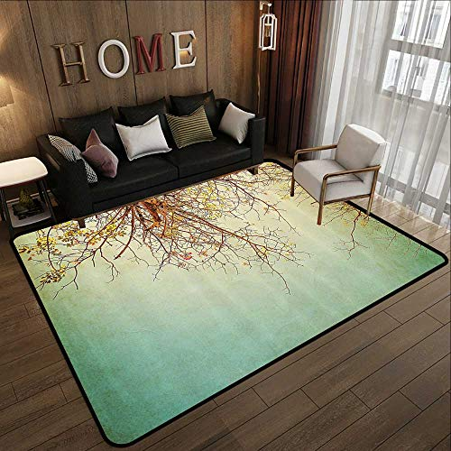 Bedroom Rugs,Nature,Vintage Tree Flower Branches with Spring Blooms Fresh Leaves Print,Ginger Mint and Light Green 78.7