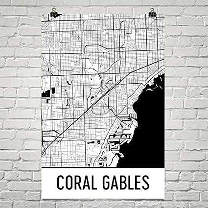 Coral Gables Map Florida.Amazon Com Coral Gables Map Coral Gables Art Coral Gables Print