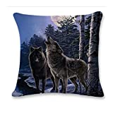 Pgojuni Cute Wolf Tower Flax Pillowcase Decoration Throw Pillow Cover Cushion Cover Pillow Case for Sofa/Couch 1pc (F)