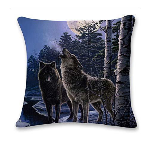 Pgojuni Cute Wolf Tower Flax Pillowcase Decoration Throw Pillow Cover Cushion Cover Pillow Case for Sofa/Couch 1pc (F) by Pgojuni_Pillowcases (Image #1)