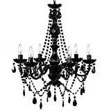 """The Original Gypsy Color 6 Light Large Black Chandelier H26"""" W22"""", Black Metal Frame with Black Acrylic Crystals"""