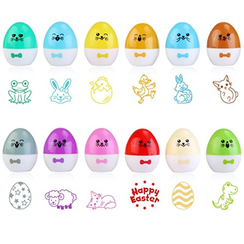 Easter Stamps for Easter Baskets Stuffers, Kids Easter Egg Hunting Game 1.5 Inches Diameter, Set of 12 ()