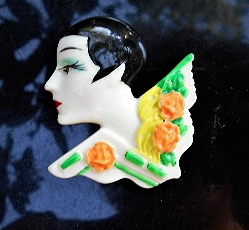 40s Celluloid Flapper Cameo Very Short Hair Hand Painted with Slight Blush on Cheek & Blue Eye Shadow, 3D Figural Brooch . Real Eye - Hand Painted Figural