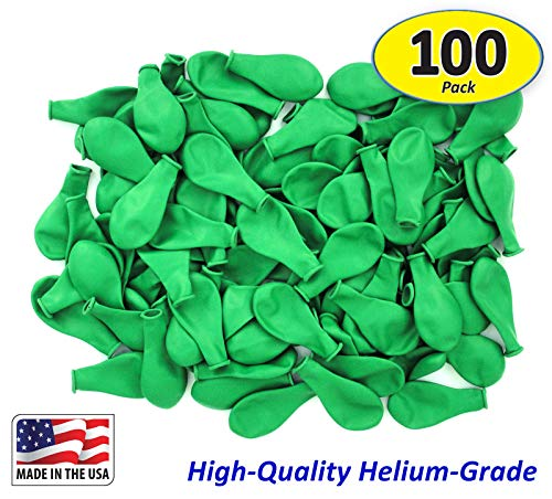 Pack of 100, Bright Green Color Latex Balloons, MADE IN USA! -