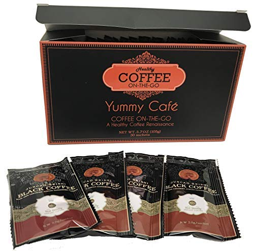 New Improved Healthy Coffee - Great Tasting ON-THE-GO Black Coffee with Certified Organic Ganoderma - Box of 30 x 3.5gm Sachetts.