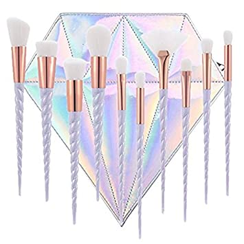 10pcs Unicorn Makeup Brush Set Professional Foundation Powder Cream Blush Brush Kits With Diamond Bag (White hair) one two one
