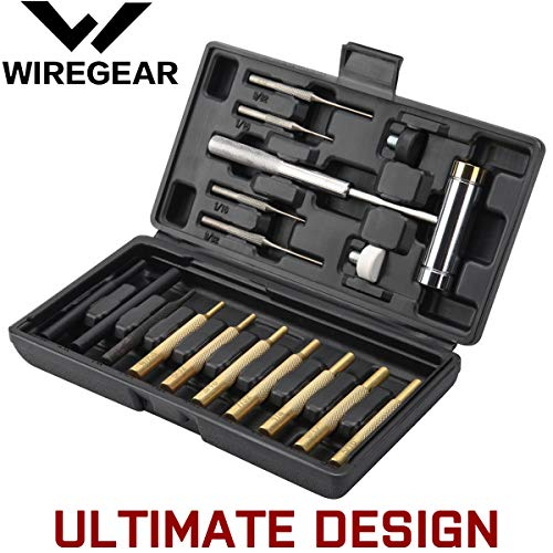 WIREGEAR Gunsmith Punch Set Hammer and Punch Set Brass Punch Set Upgraded with Brass Made of Solid Non-deformed Material with Brass Punch Steel Punch and Steel Hammer In Storage Case for Gunsmithing (Tool Punch Set)