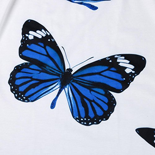 Top Top Donne SmrBeaty Ragazze Manica Camicetta 2018 Shirt Fiore Casuale Larga Blu Polo Stampa T e Shirt Taglia Camicie Farfalla Bluse Donna T Estate Corta Anv4OAq1
