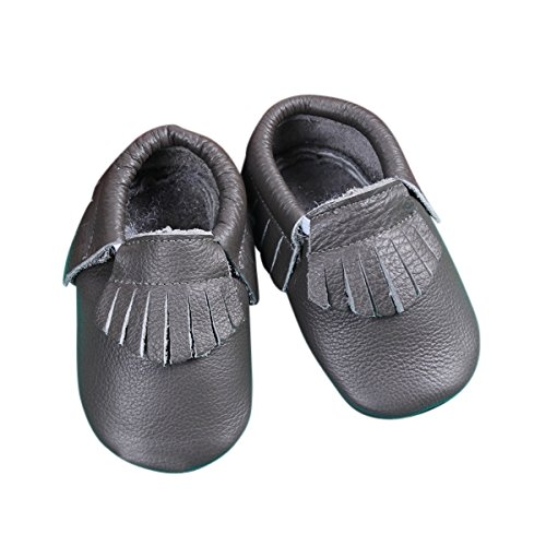 Unique Baby Leather Baby Moccasins Anti-Slip Shoes XS (4.5 inches) Grey