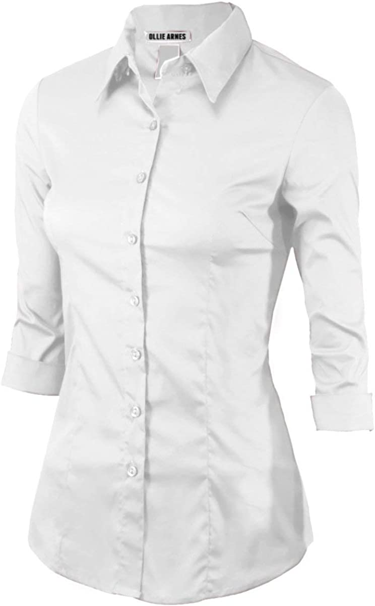 Women 3//4Sleeve Office Casual Button Down Blouse Shirt Junior PlusSize Up to 6X