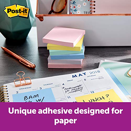 Post-it Greener Notes, 3x3 in, 24 Pads, America's #1 Favorite Sticky Notes, Helsinki Collection, Pastel Colors (Pink, Blue, Mint, Yellow), Clean Removal, 100% Recycled Material (654R-24CP-AP)