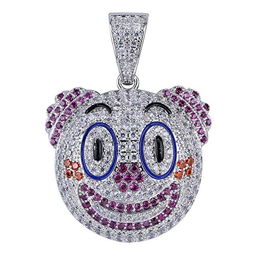 (JINAO Iced Out Emoji Jack Skellington Heart Eyes Smile Devil Clown Pendant Necklace (Clown))