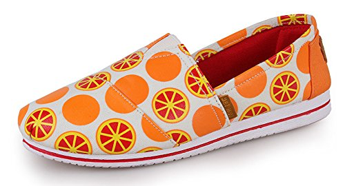 Aisun On Orange Femme Sneakers Slip Basses Loafers Mode Graffiti wqnPWw48gA