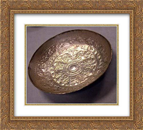 Chimu Culture - 22x20 Gold Ornate Frame and Double Matted Museum Art Print - Pair of Bowls with Repousse Work