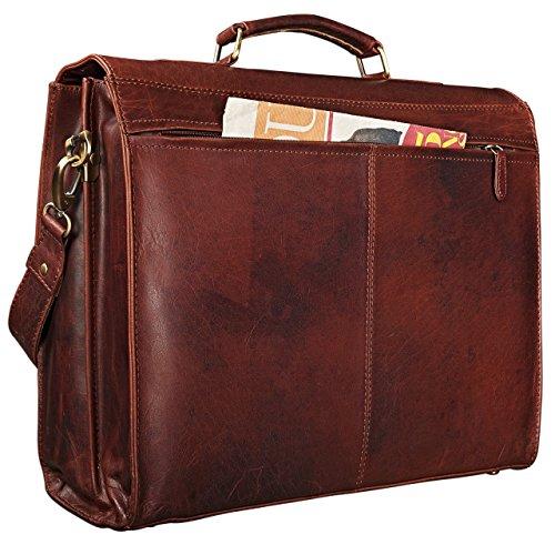 STILORD Richard Aktentasche Leder Herren Vintage Businesstasche 13.3 Zoll Laptoptasche große Bürotasche Arbeitstasche mit vielen Fächern, Farbe:muskat - braun siena - braun