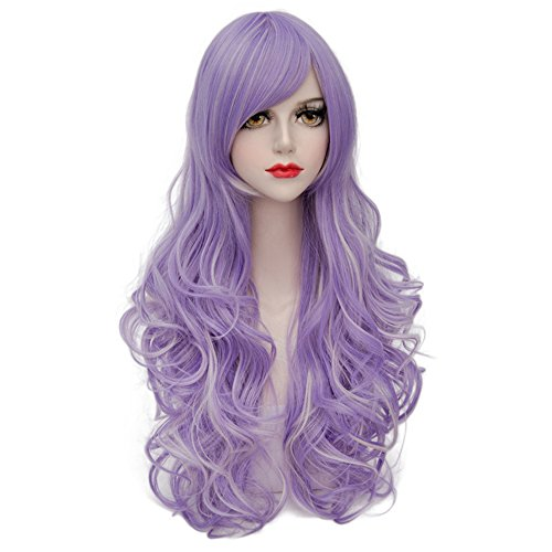Lilac Long 80CM Curly Heat Resistant Lolita Fashion Women Cosplay Wig + Wig Cap ()