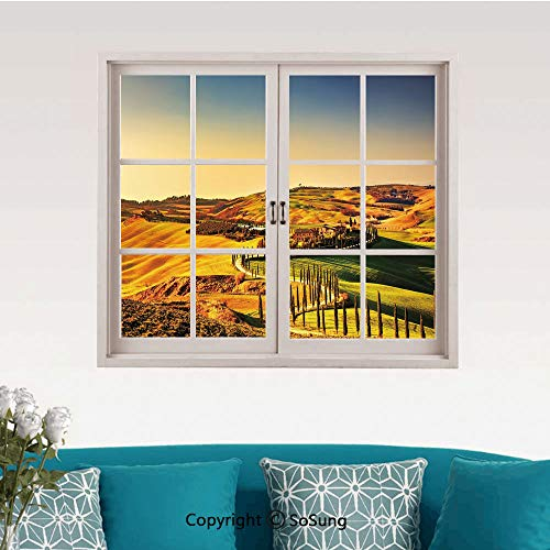Italy Removable Wall Sticker/Wall Mural,Tuscany Crete Senesi Rural Landscape Cypress Trees Country Farmland Europe Decorative Creative Close Window View Wall Decor,24