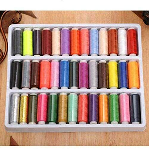 ILSELL 39 Spools Rainbow Polyester Sewing Thread Kit Set for Manual Embroidery or Sewing Machine Sewing Embroidery, Variety of Colors - 250 Yards Per Axis