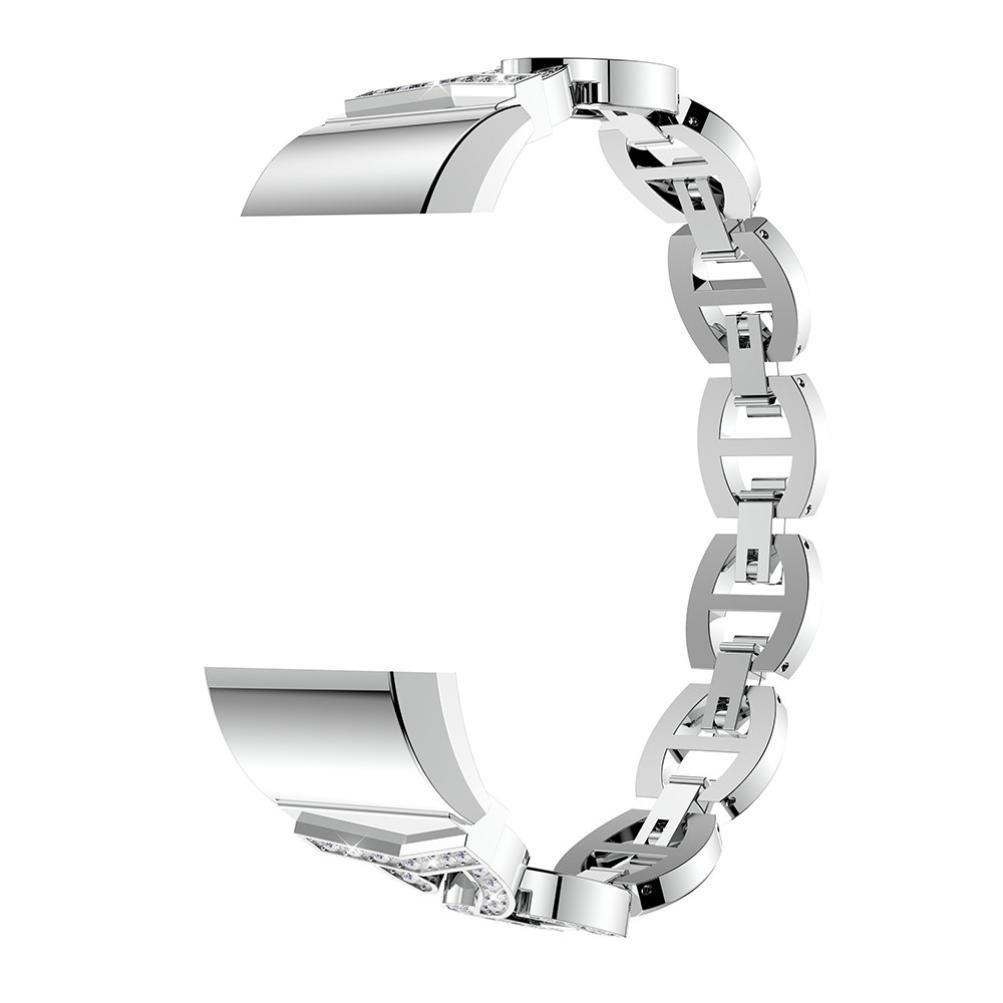 Transer Armband Für Fitbit Charge 2 /Classic Geschäft Treffen Luxus Kristall Edelstahl Metall Armband Strap Band (Silver) Transer® W987049680